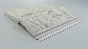 3D model open soft book