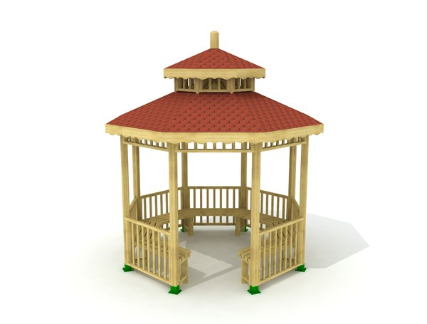 3D hexagon gazebo wood shingle