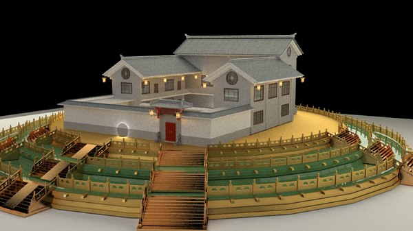 3D model chinese courtyard house