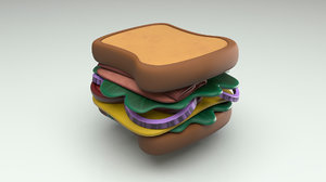 cartoon sandwich 3D model