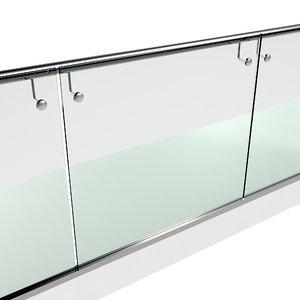 stainless steel glass railing 3D model