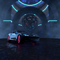 Sports Car In Occult Temple Environment