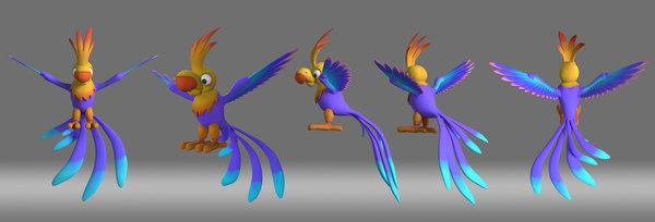 3D cartoon parrot bird model