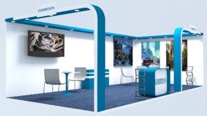 3D exhibition stall architecture interior model