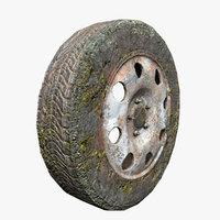 3D old vehicle wheel tire