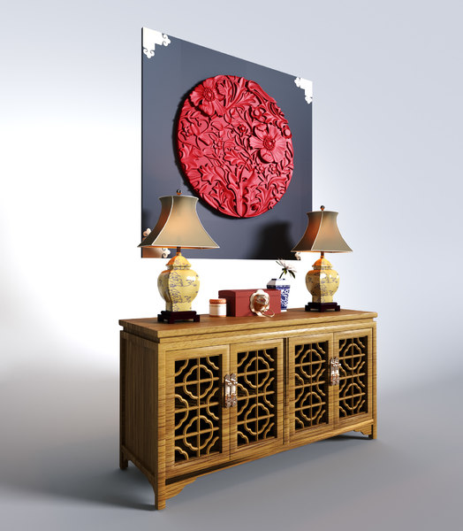 3D chinese style cabinet