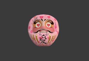 3D model daruma japanese doll pink