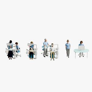 dentist hygienist walking 3D