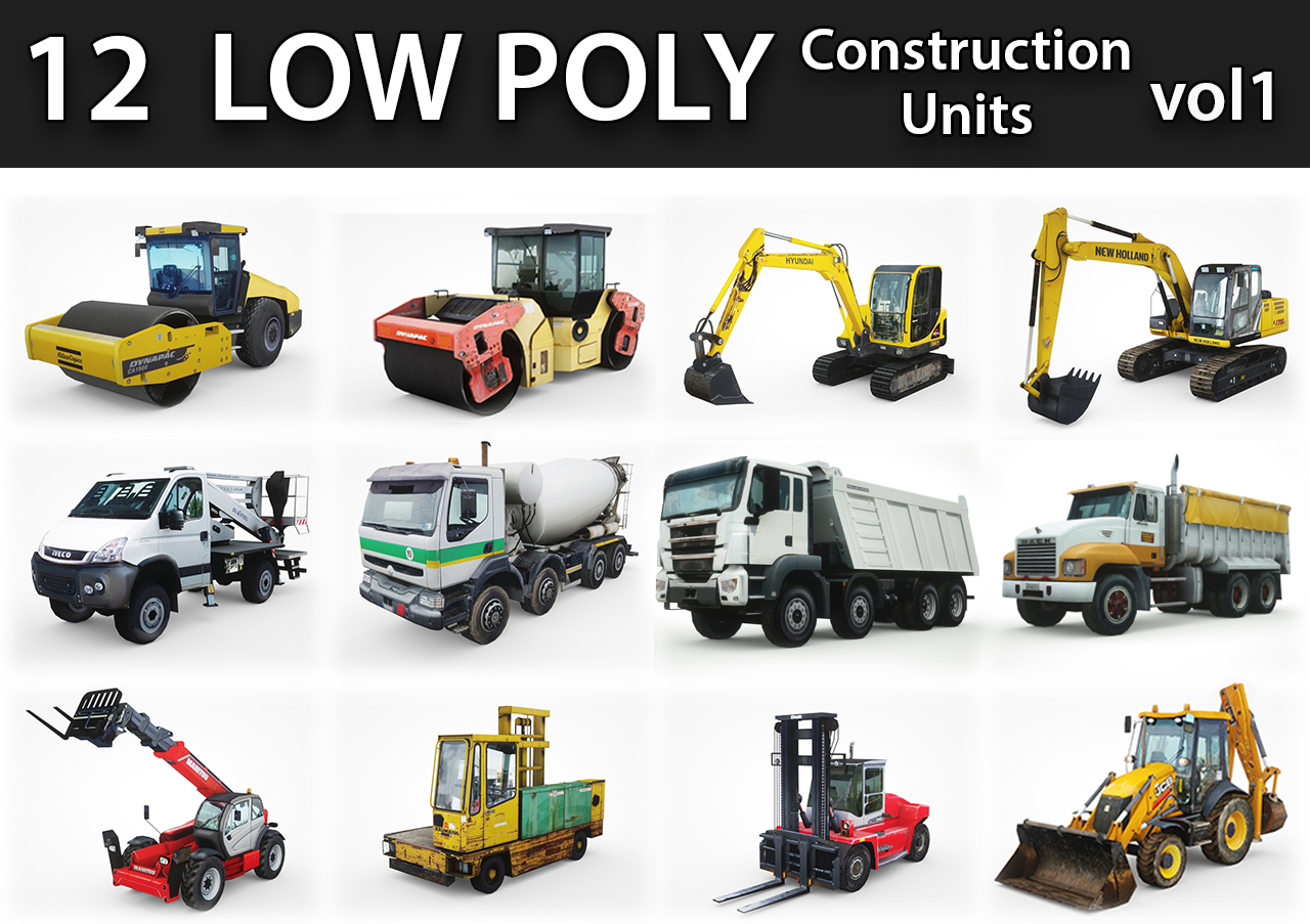 12 low-poly construction units model
