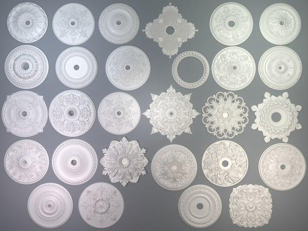 28 piece rosettes 3D