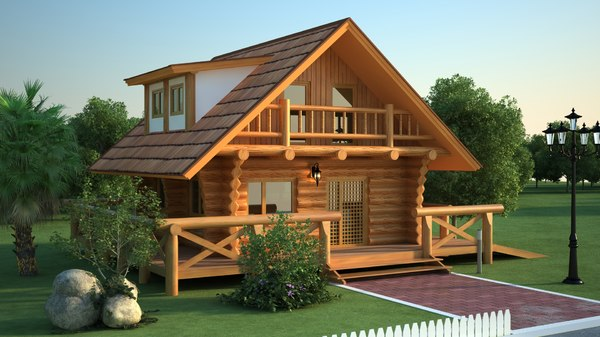 3D house wood wooden