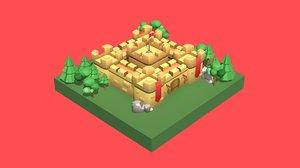 modular castle building 3D
