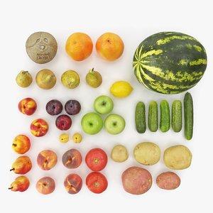 3D fruits vegetables hi polys