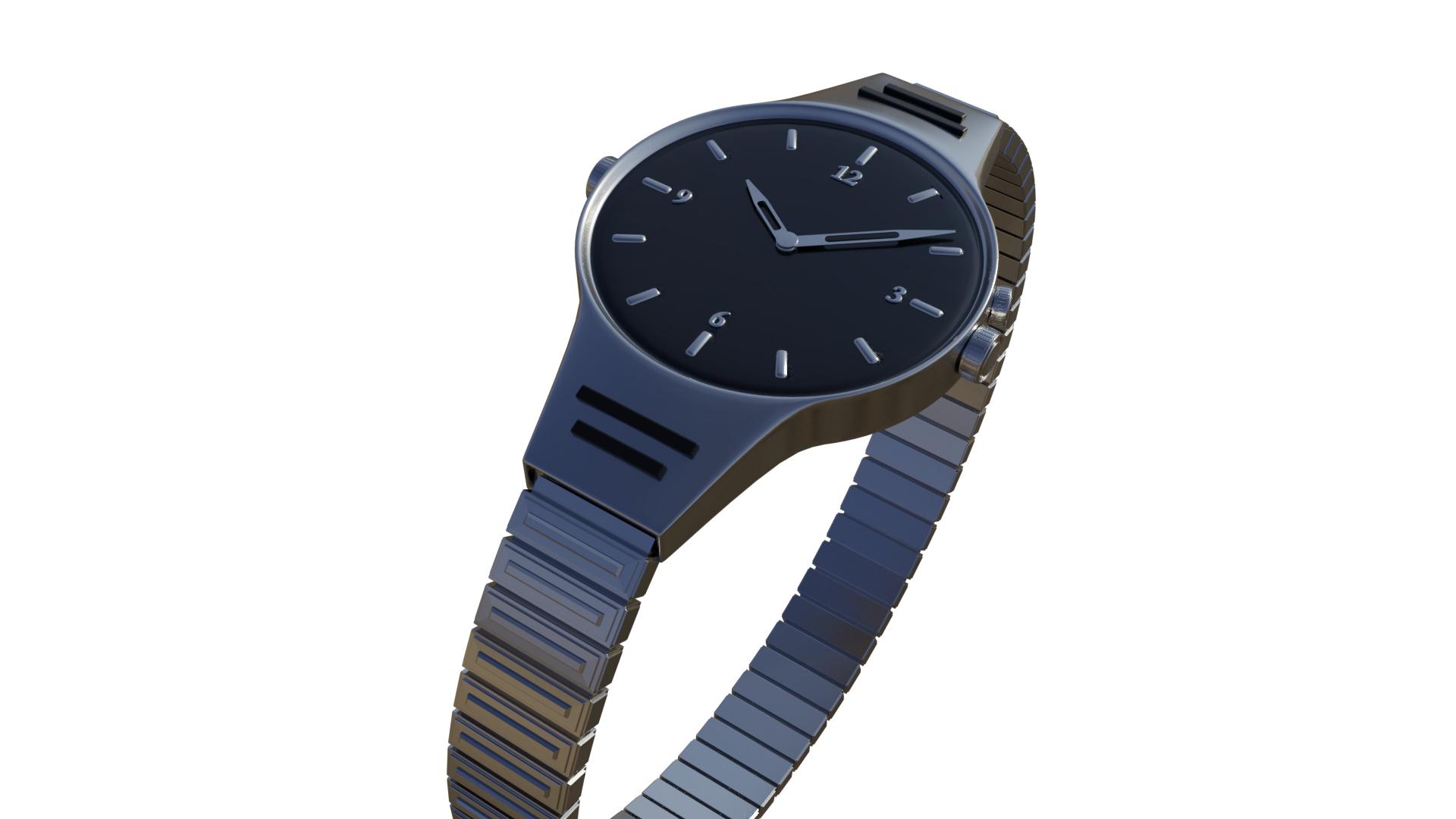 3D watch silver model