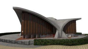 3D model building palais sports grenoble