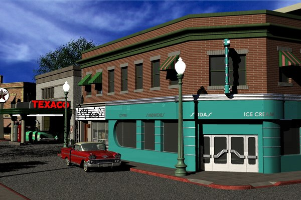 3D hill valley lous diner model