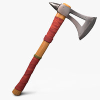 Stylized cartoon Axe Low-poly