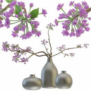 blooming sakura branches vase 3D model