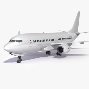 3D generic white airplane aircraft model