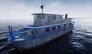 old rusty ship boat 3D model