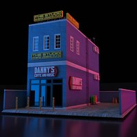 COMMERCIAL STORE STREET BUILDING LOW POLY PBR
