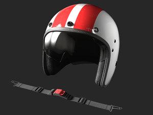 open face motorcycle helmet 3D model