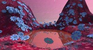 pack floral alien vegetation 3D model