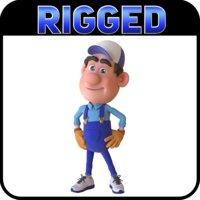 3D model cartoon plumber