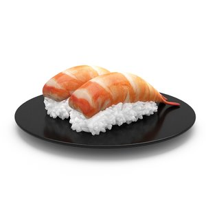 prawn sushi roll japanese 3D model