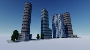 3D skyscrapers buildings v2 model