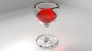 wine glass liquid 3D model