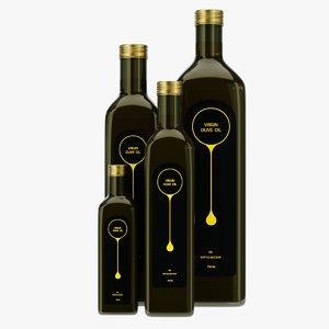 oil bottles set 2 3D model