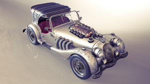 3D steampunked morgan roadster model