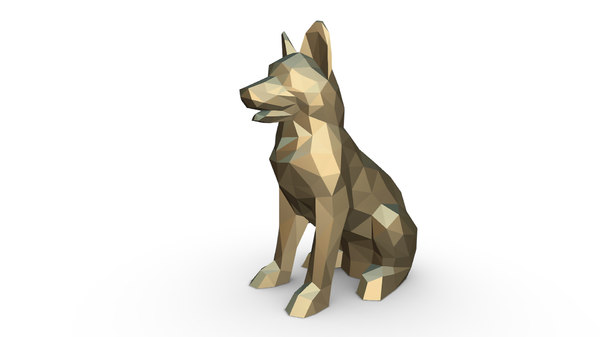 printed german shepherd figure 3D