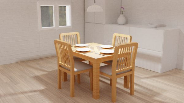 dinning set table chair 3D model