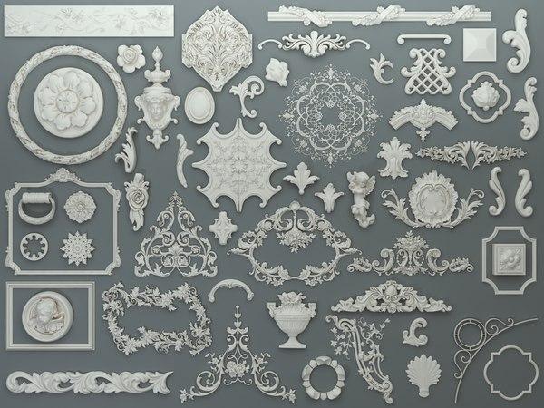 58 piece carved elements 3D model