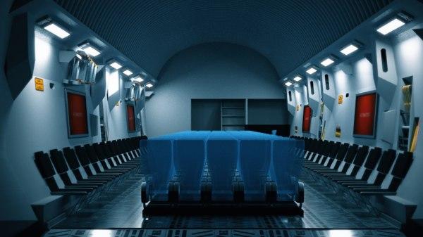 3D model c-17 plane interior