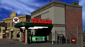 3D hill valley texaco gas station