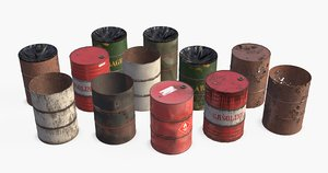 3D metallic barrels asset industrial model