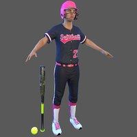 3D softball 1 bat ball