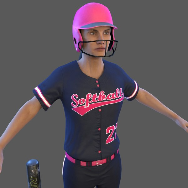 3D softball 1 bat ball