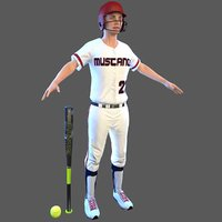 softball bat ball 3D model
