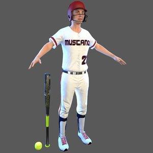 softball bat ball 3D model