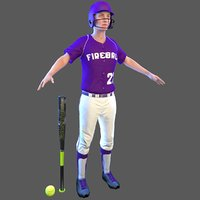 3D softball bat ball model