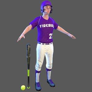 3D softball bat ball model