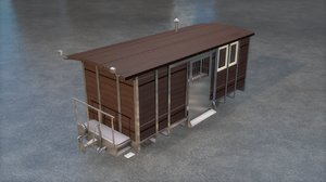 3D post wagon boxcar model