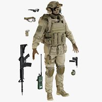 Soldier Daniel Uniform Desert With Equipment