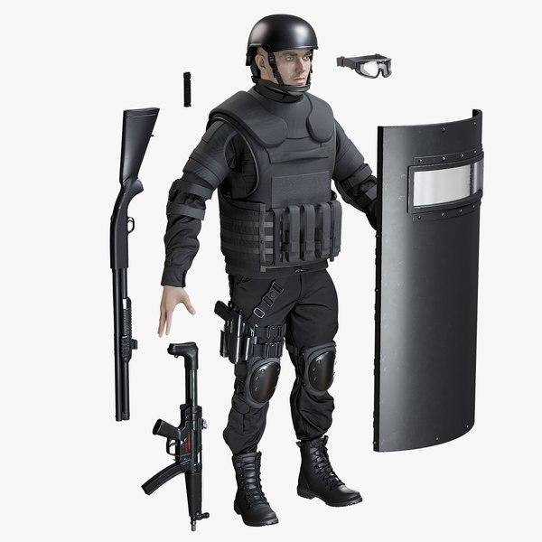3D model uniform swat man