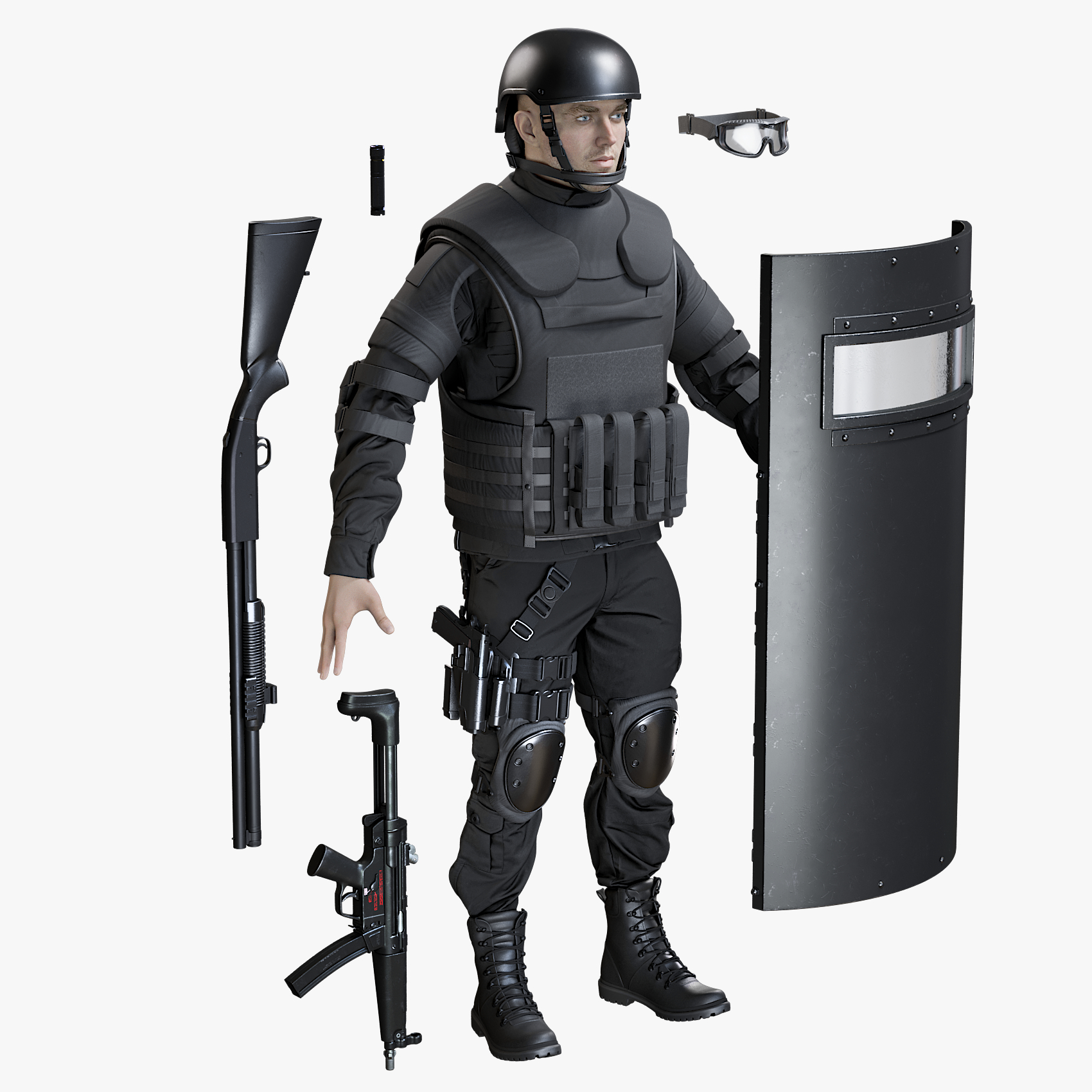 3D model uniform swat man