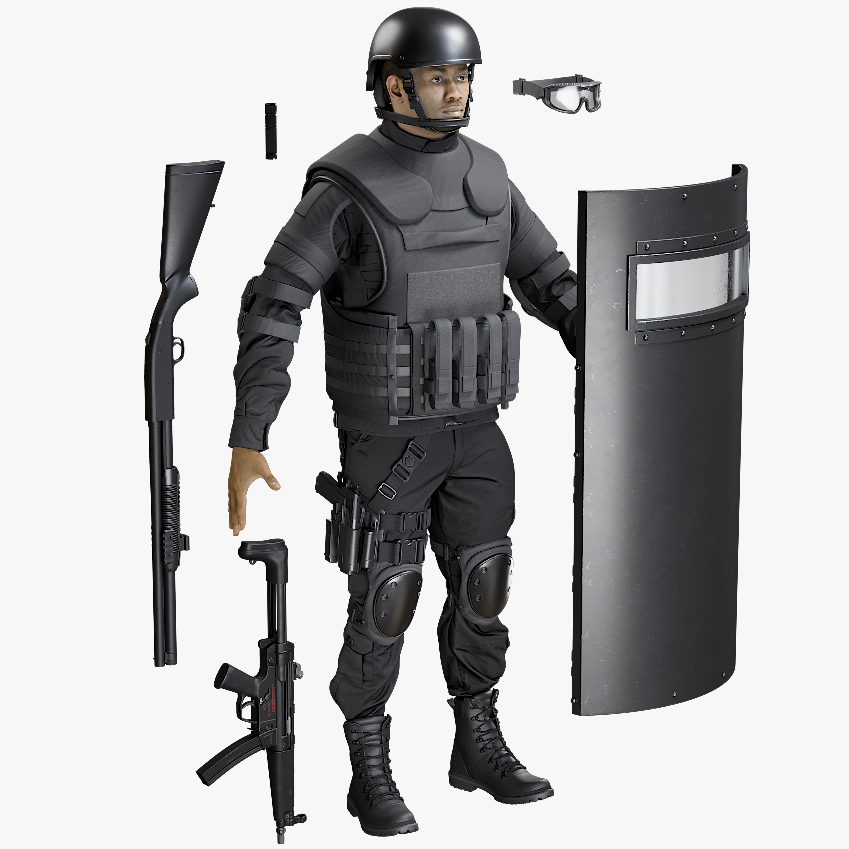 3D uniform swat equipment model
